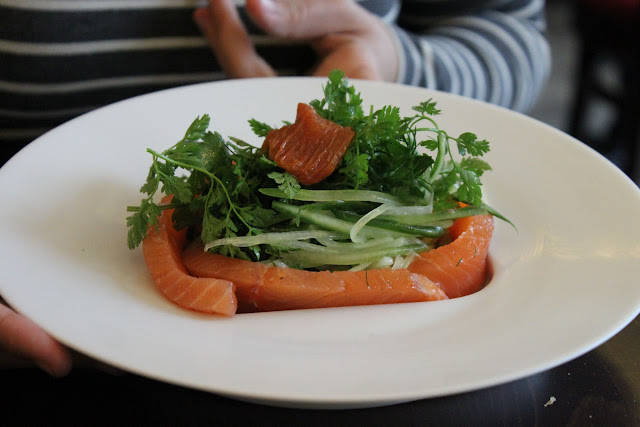 Home cured salmon with a cucumber, spring onion and ginger salad, la regalade, paris