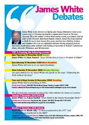 >James White: Schedule Of London Debates