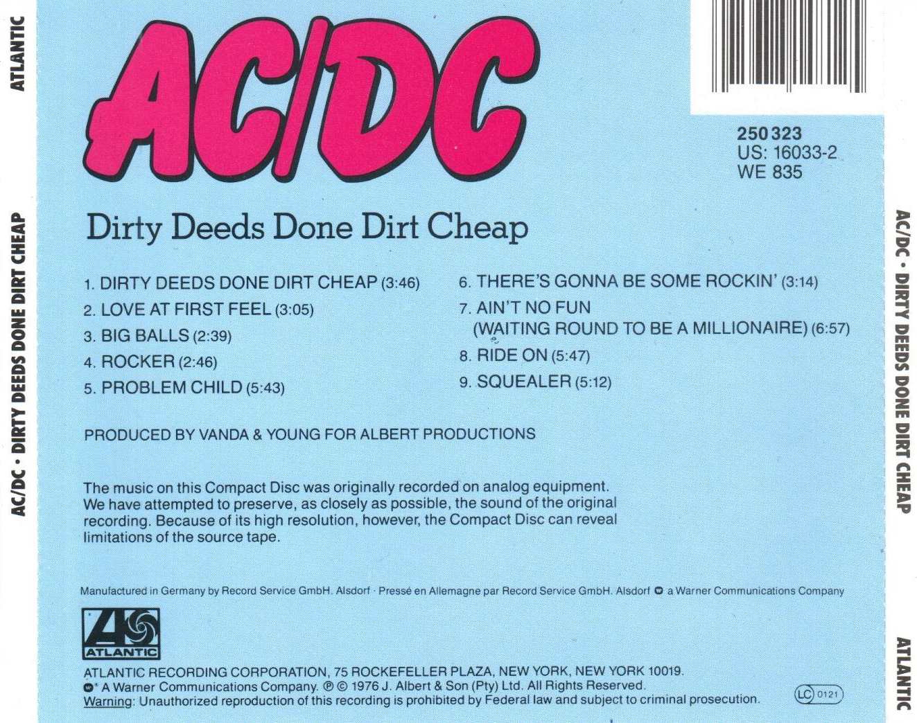 Musicotherapia: AC/DC - Dirty Deeds Done Dirt Cheap (1976)
