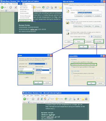 Problem Reading Burmese Font In Internet Explorer