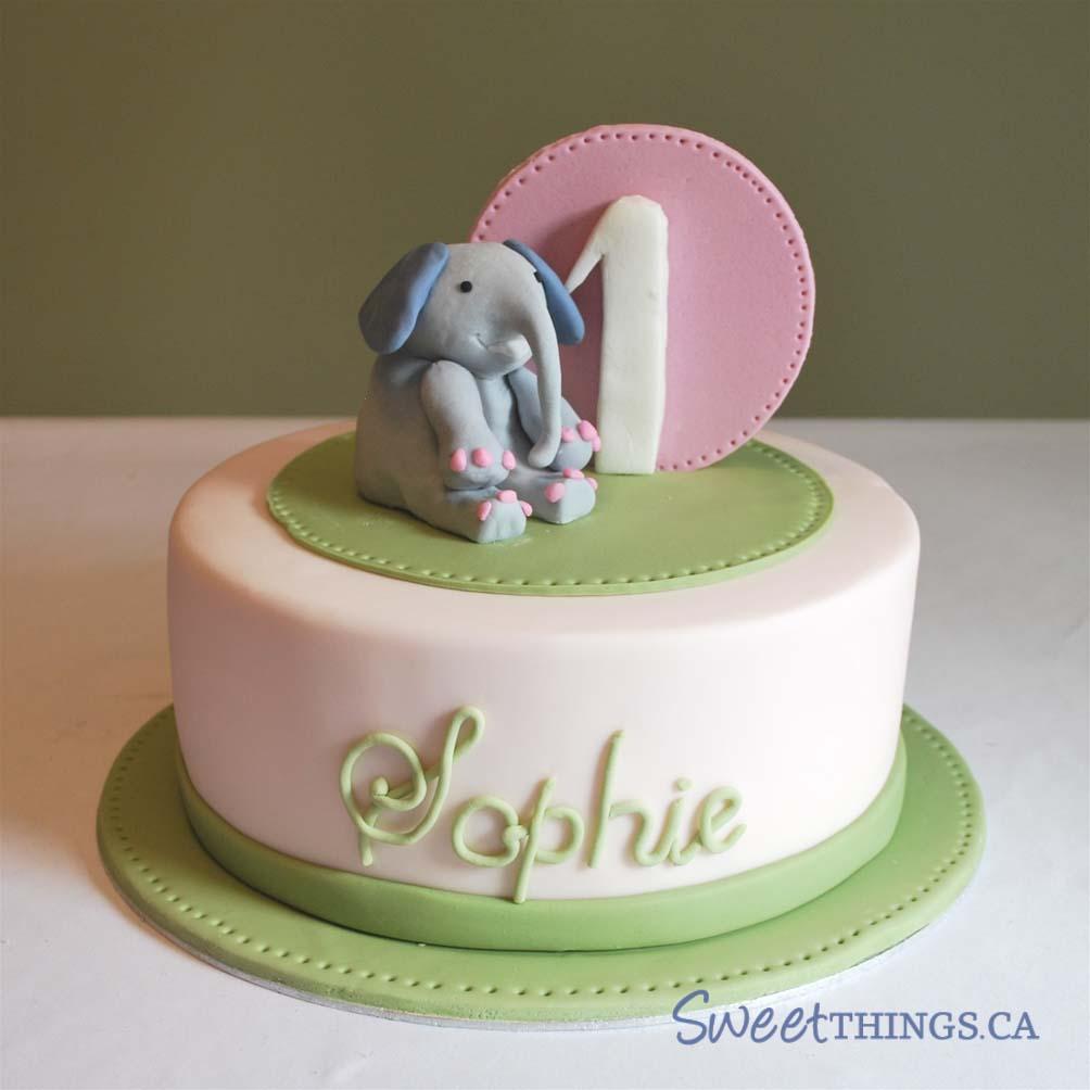 Sweetthings 1st birthday cake green pink for 1st anniversary cake designs