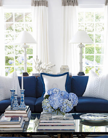 Navy And White Furniture Is Hot For 2017 I Love Headboards Upholstered In A Velvet Fabric Nautical Large Scale Stripes Look Great Vertically On