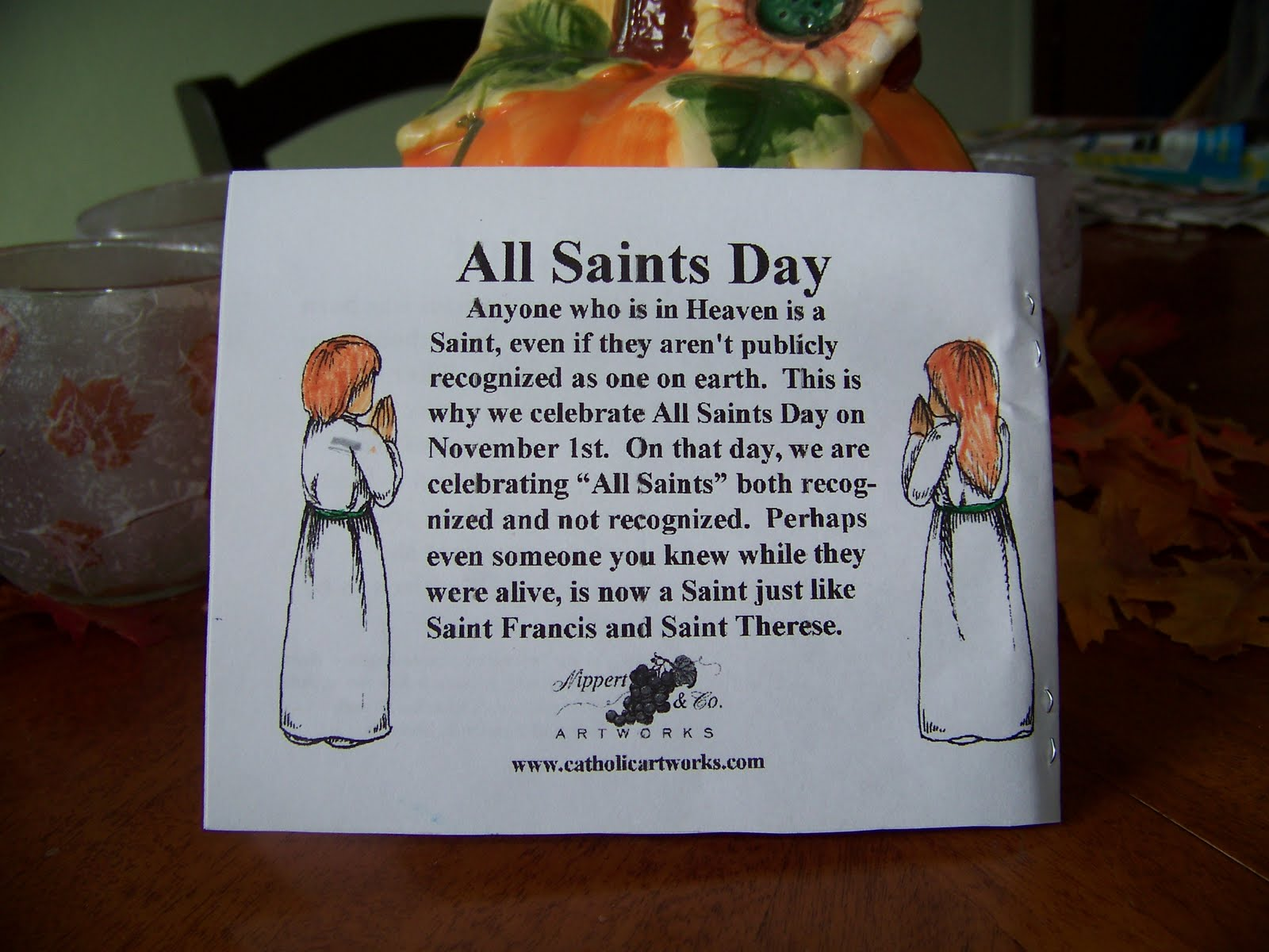 My Four Girls All Saints Day Printable