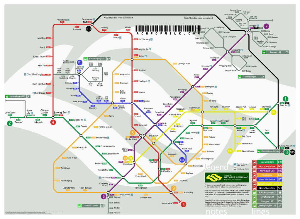 The Latest Singapore Mrt Lrt Map New Lines A Cup Of Milk