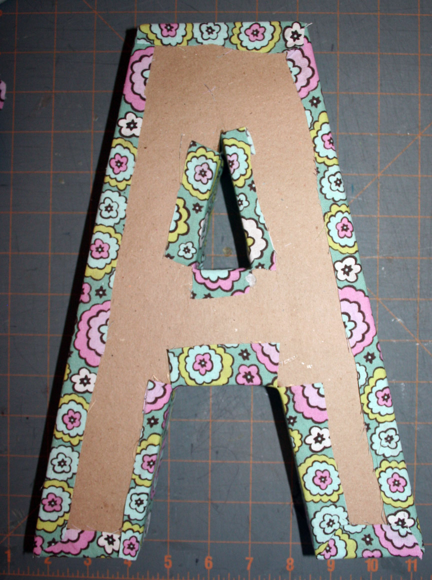 Fabric covered letter tutorial jessica peck for How to cover cardboard letters with fabric