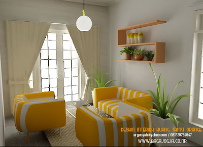Desain Interior Ruang Tamu Kecil Yang Sejuk Ceria