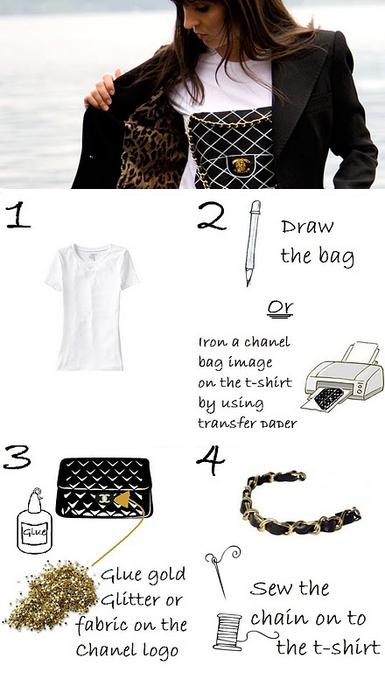 1d82a07f87 Ecco come trasformare la classica t-shirt bianca in una stilosissima t-shirt  fake di Chanel(un musthave per le fashioniste)!