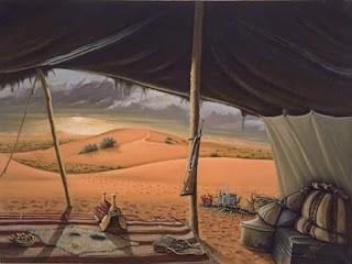 بيت الشعر رسم خيمة في الصحراء