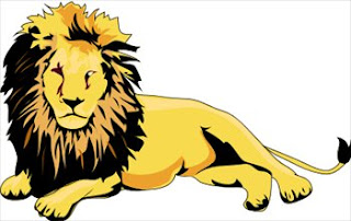 Old yellow lion clipart image