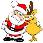 Clip art Christmas picture of Santa Claus and reindeer