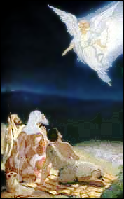 Angel appears in nativity clip art scene