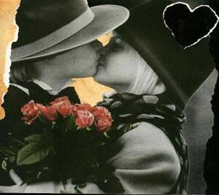 romántico beso de niña y niño