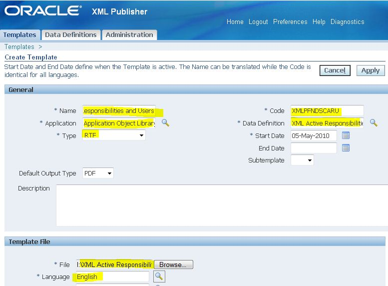 Expertise in oracle apps xml publisher and r12 for How to create rtf template for xml publisher