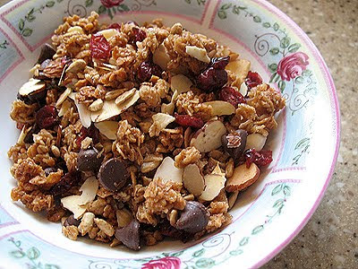 A close up photo of homemade granola in a bowl.