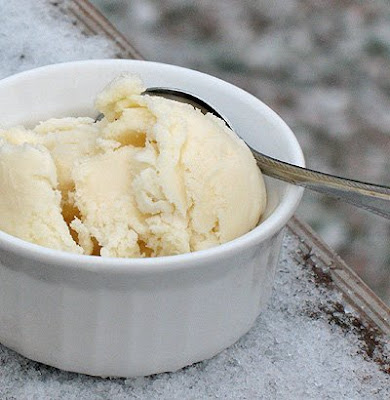 A close up photo of a scoop of homemade vanilla ice cream in a white bowl served with a spoon.