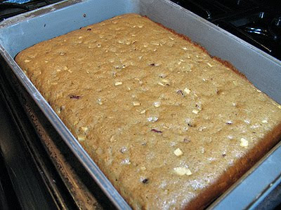 A photo of a pan of applesauce spice bars.