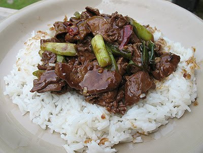 A close up photo of stir fried spicy beef over rice.
