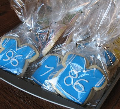 A photo of football jersey cookies in clear bags.