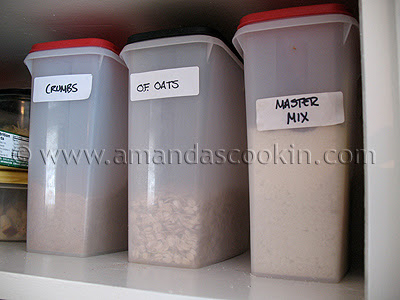 A photo of boxes of crumbs, oats and master mix.