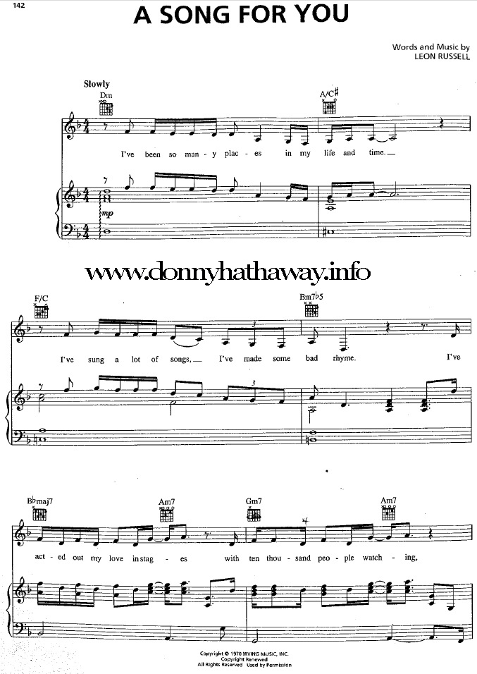 All Music Chords fall for you sheet music : Donny Hathaway: A Song For You, music sheet (1972)