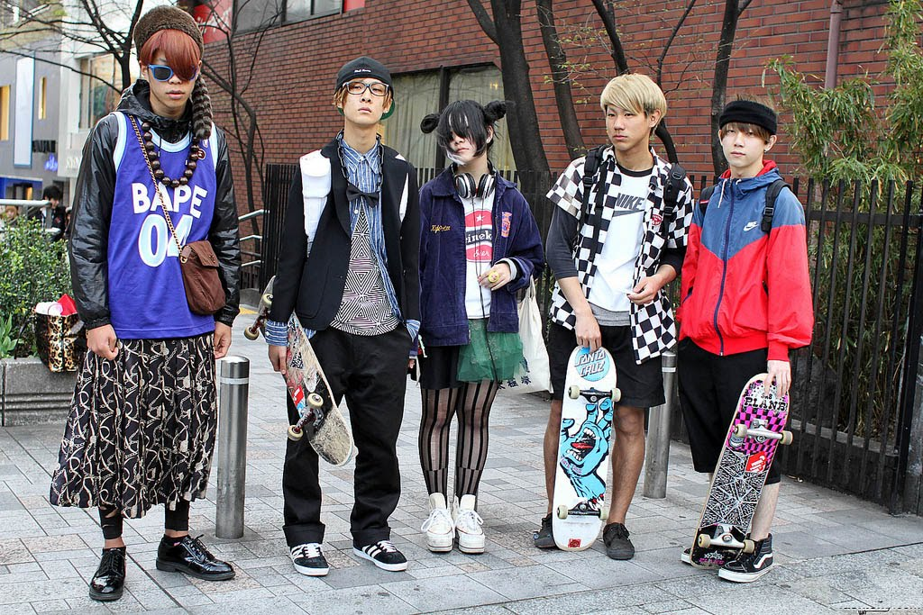 ce94c555ee5 Here are a group of skaters that were recently in Harajuku wearing fashion  that you probably won t see in many places. Harajuku evolution!