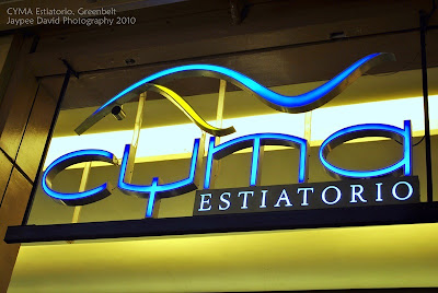 Cyma Estiatorio Greek Restaurant, Greenbelt, Manila, Philippines, Waiters shouting OPA, Saganaki Mozzarella, Roka Salata and Pasta, Kakavia, Chicken Gyros
