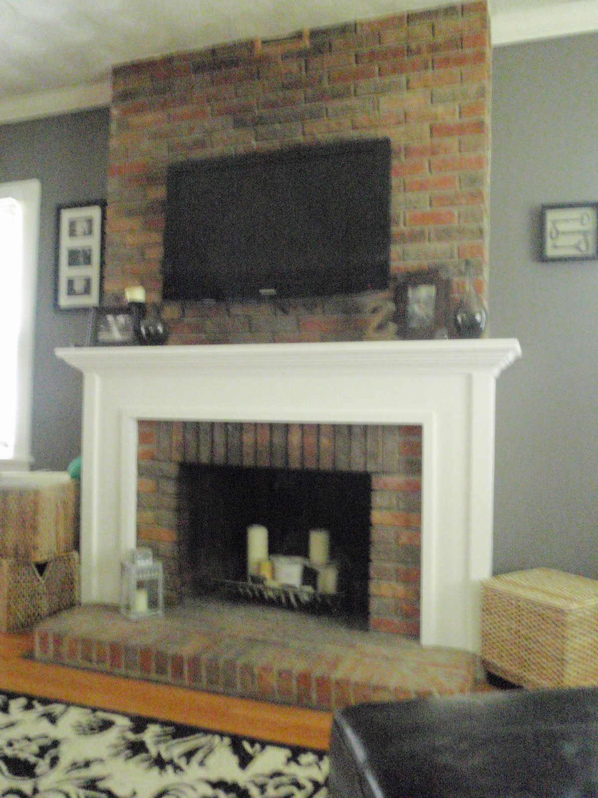 hammers and high heels living room mounting a tv to a brick fireplace. Black Bedroom Furniture Sets. Home Design Ideas