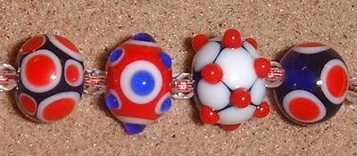 Terrible red, white and blue beads