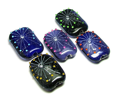 Lampwork 'Firework' Focal Beads by Laura Sparling