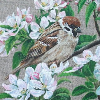 Detail of 'Sparrow & Apple Blossom' by Caroline Bletsis