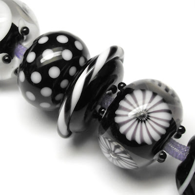 Monochrome Lampwork Glass Beads