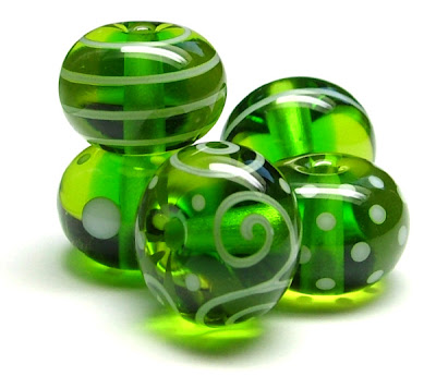 Green Lampwork Glass Beads