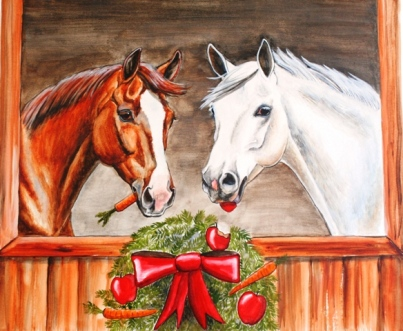 Horses of Course! First Christmas Card design issued