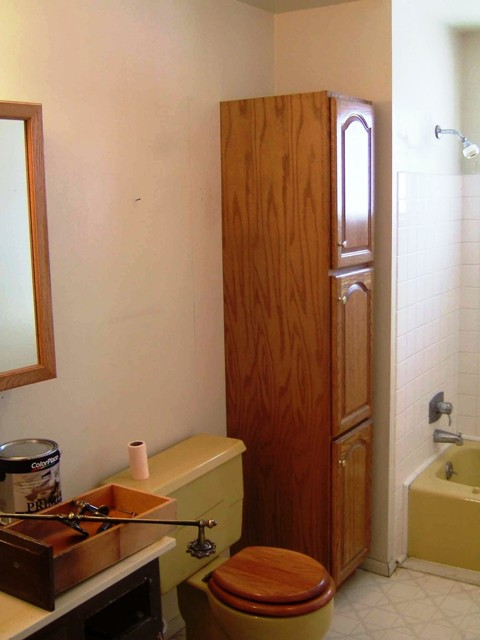 To Keep Costs Low We Chose The Toilet And Tub Even Though They Were A Matching Mustard Yellow Color