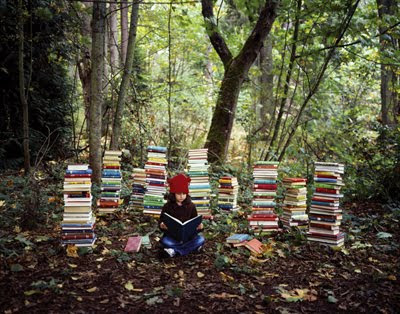 Girl Reading in the Woods