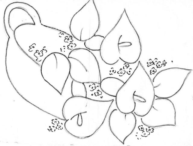 pintura em tecido flores risco para pintar copos de leite