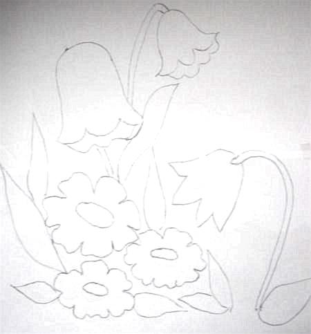 pintura em tecido risco pano de prato tulipas