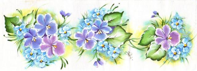pintura em tecido violetas