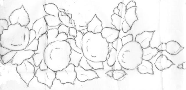 pintura em tecido risco pano de prato rosas
