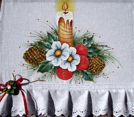 pintura em tecido pano de prato motivo natalino