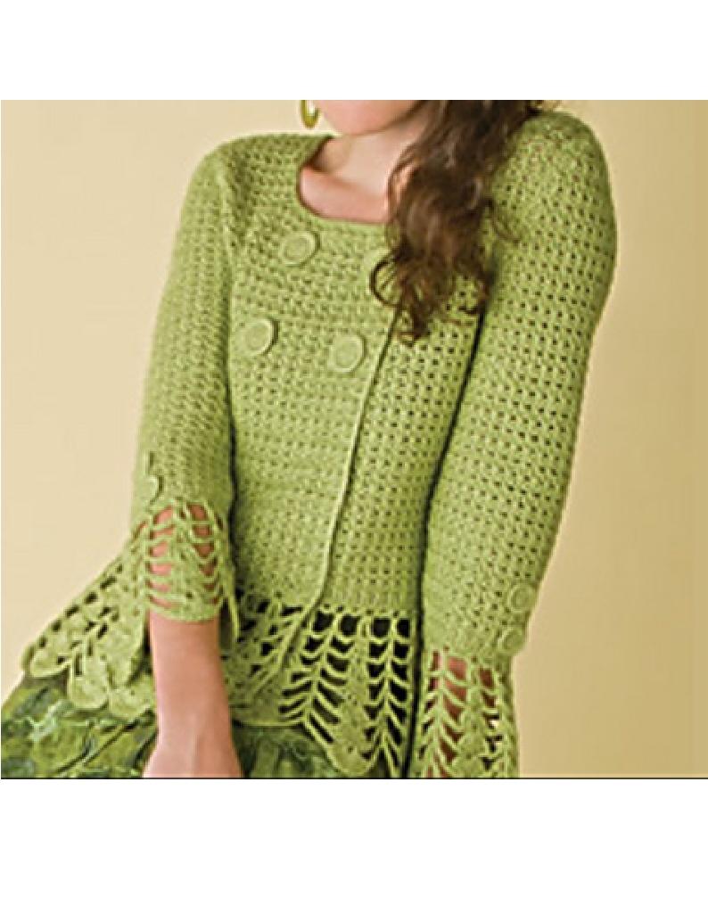 Positively Crochet Four Button Jacket Design In Crochet