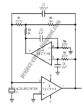 Free Project Circuit Diagram: Accelerometer Amplifier Circuit on vibration diagram, hydrometer diagram, gprs diagram, speaker diagram, switch diagram,