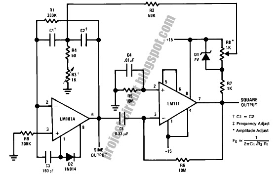 Electronics Technology: Tuned Sine Wave Oscillator Circuit With Op Amp
