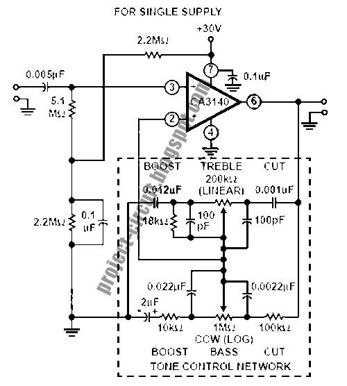 baxandall tone control using ca3140 op amp