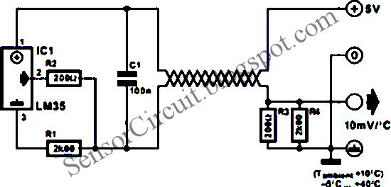 Sensor Schematic Two-Wire Temperature Sensor Using LM35 IC