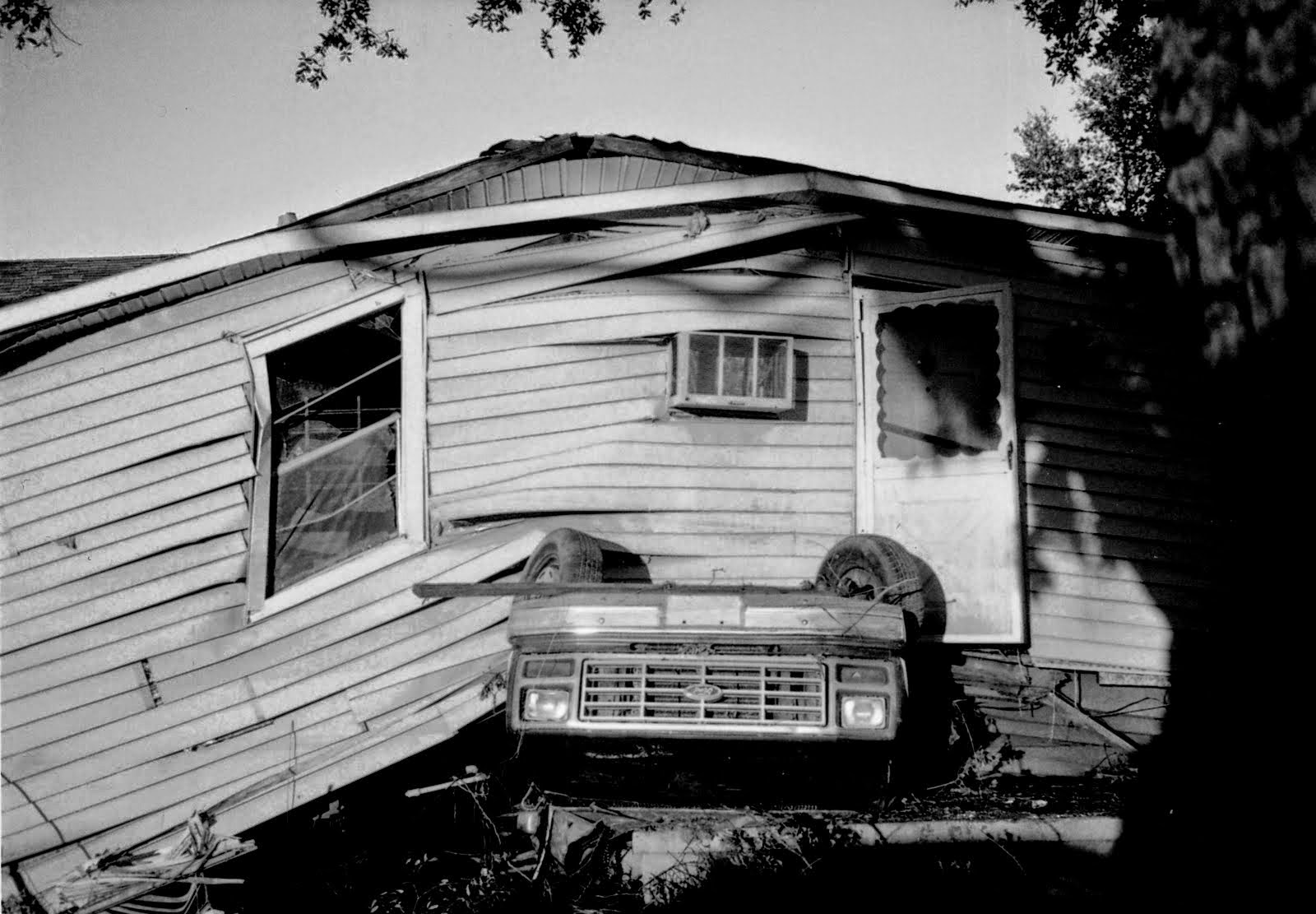 A damaged house in the Ninth Ward of New Orleans after Hurricane Katrina hit the city in 2005.