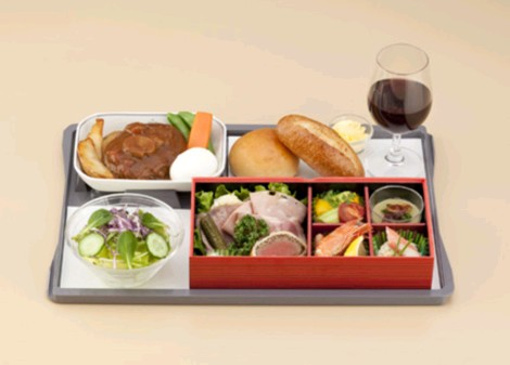 Brand new Japan Airlines (JAL) business class menu on Southeast Asia flights: Western entree with Japanese-influenced western sides
