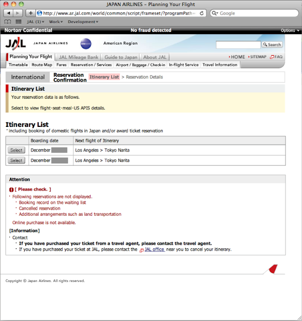 JAL's my reservation page: itinerary list