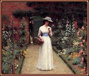 Dama en un jardín, por Edmund Blair Leighton.