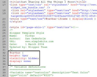 How to disable hide remove blogger navbar navigation bar